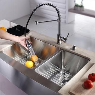 Divided stainless steel Farmhouse Sink with pull down faucet