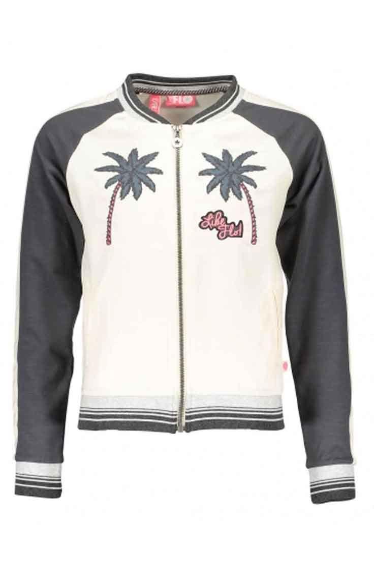 Dress Like Flo met dit trendy satin sweat baseball vest. Met dit hippe vest in een  basebal look en palmbomen aan de voorzijde steel je deze zomer de show!