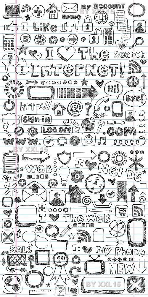 Web doodle icons set