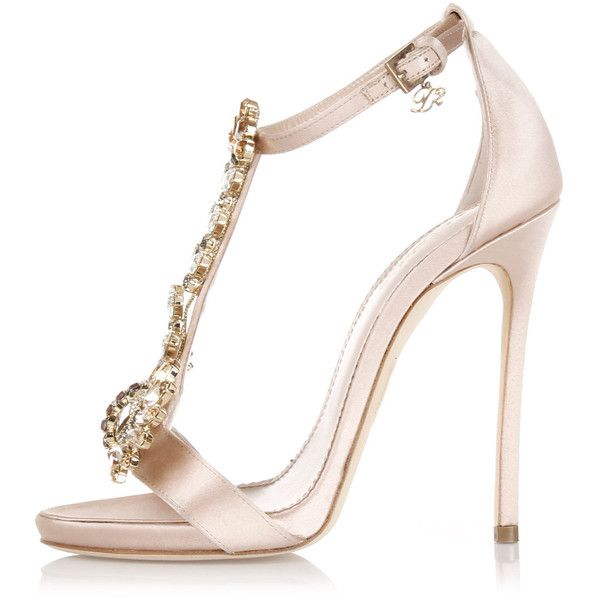 Dsquared2 11,5 Cm Satin Sandal High Heel with Jewel Applicat found on Polyvore featuring shoes, sandals, heels, sapatos, pink, dsquared2 shoes, heeled sandals, jewel sandals, leather sole shoes and pink stilettos