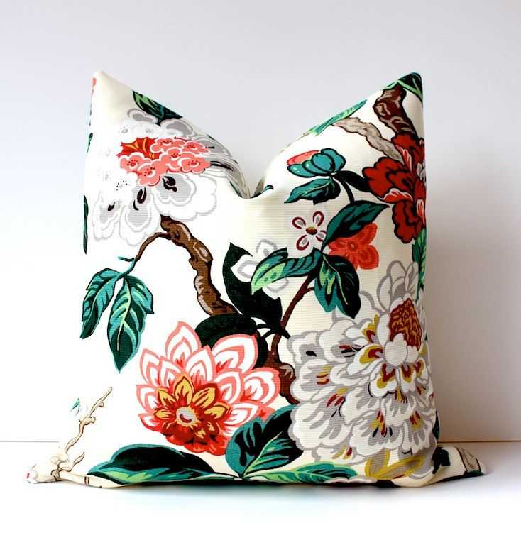 """Modern Emerald Pink Decorative Designer Pillow Cover 18"""" Accent blossoms oriental floral chinoiserie gold white brown red green cream. $42.00, via Etsy."""