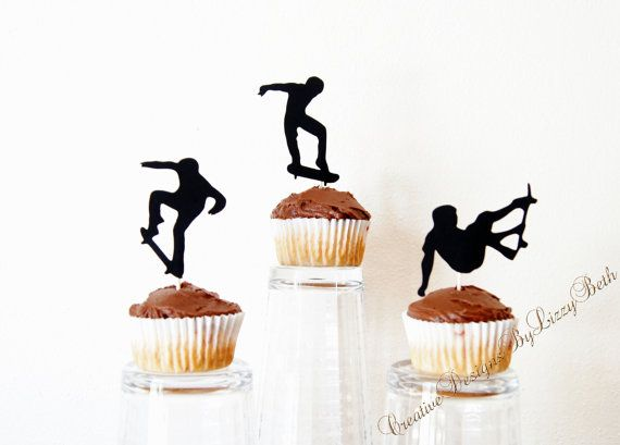 Skateboard Cupcake Toppers by IHeartPapier on Etsy, $10.50