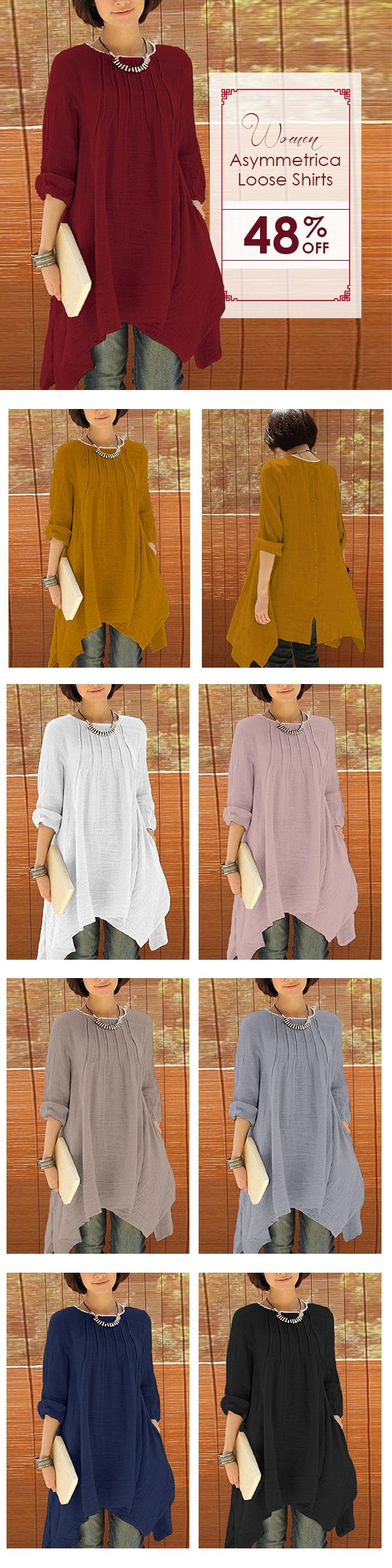 [Newchic Online Shopping] 48%OFF Women Long Sleeve Pure Color Asymmetrical Loose Shirts