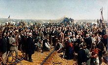 """A portrayal of the """"last spike"""" being put into the transcontinental railroad"""