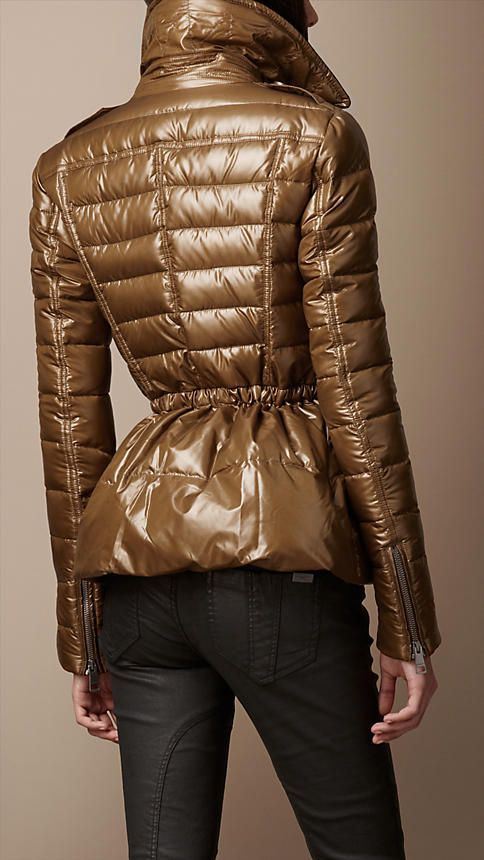 #Burberry - Down-filled Peplum Puffer Jacket - love this shape and color! (It comes in black too!)