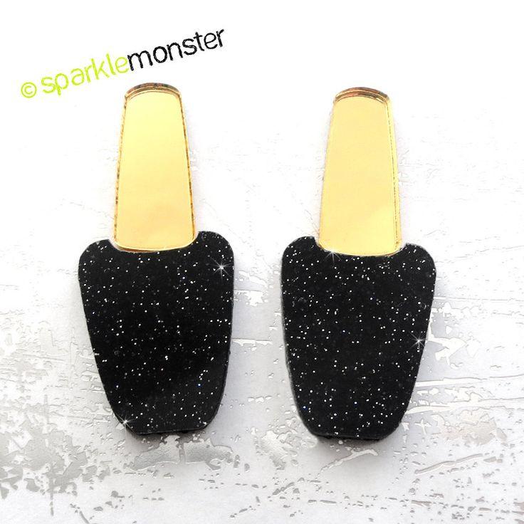 Goth Nail Polish cabs for deco - 2 pcs black glitter gold mirror laser cut acrylic manicure