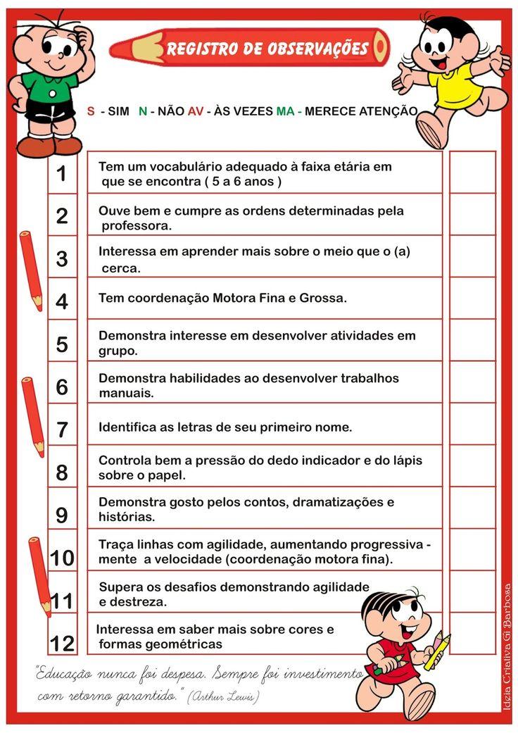 Ficha de Avaliação do Aluno - Registro de Observações | Ideia Criativa - Gi Barbosa Educação Infantil