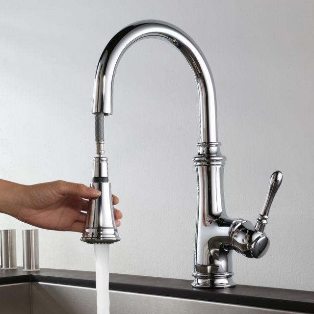 Keewi Chrome Kitchen Faucet Single Handle Pull Down Sink Mixer