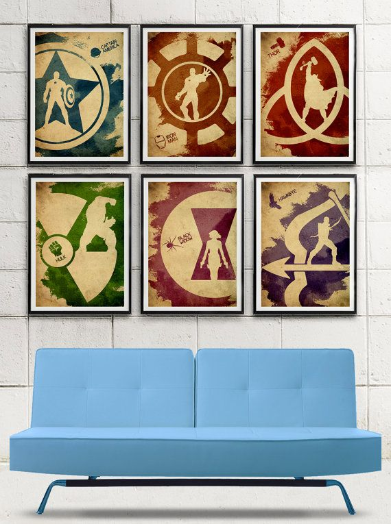 Avengers Minimalist Movie Poster Set / Captain America, Iron Man, Thor, Hulk, Black Widow, Hawkeye on Etsy, $60.00