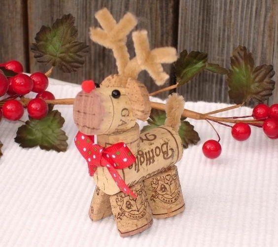 weihnachtsbastelleien mit korken hirsch basteln: