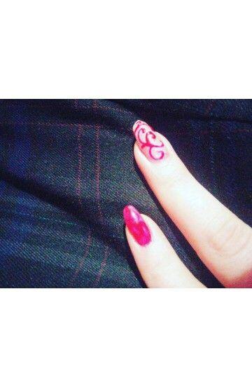 """""""glitter and glitz""""!! Nail art , red passion ."""
