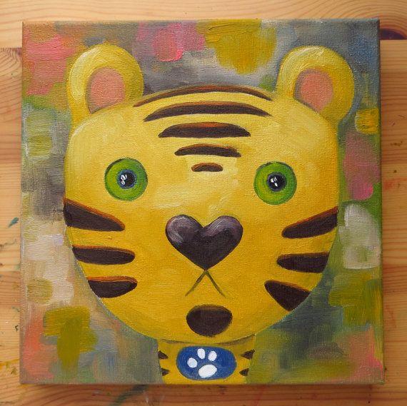 Tiger Portrait, Original Art, Animals, Oil on canvas, MikiMayo