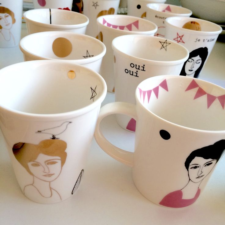 :: LES BELLES DAMES :: screenprinted mugs, all decorated by hand, all different. Check out: www.etsy.com/shop/celindaversluis