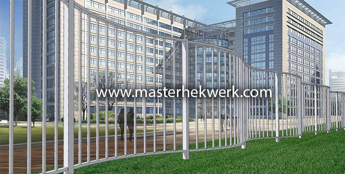 3d ontwerp spijlenhekwerk in golf vorm. Voor bij moderne hedendaagse architectuur. masterhekwerk.com