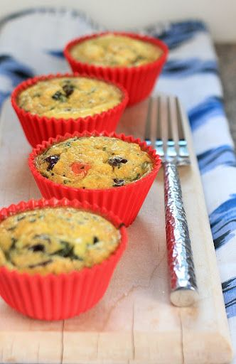 Mediterranean Feta & Quinoa Egg Muffins With Baby Spinach, Finely Chopped Onion, Sliced Tomatoes, Pitted Kalamata Olives, Fresh Oregano, Sunflower Oil, Eggs, Cooked Quinoa, Feta Cheese Crumbles, Salt