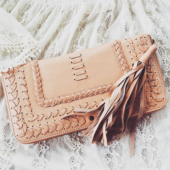TALISMAN. Nude leather clutch / boho leather purse / leather clutch purse / womens leather wallet. Available in different leather color.