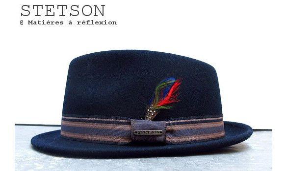 Stetson chapeau femme Oviedo bleu marine #stetson #hat #feather #trilby #porkpie #chapeau #navy #marine