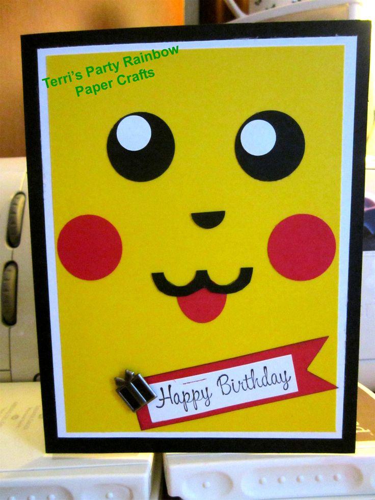 Handmade Pickachu Birthday card.