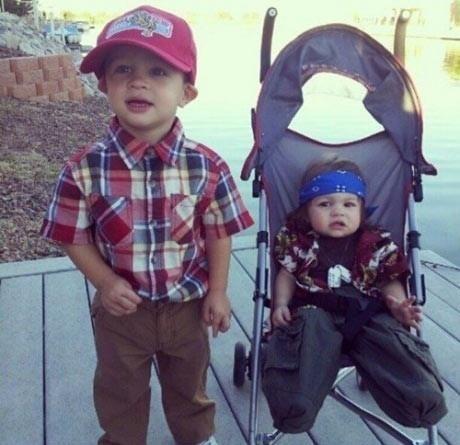 Forrest Gump & Lt. Dan -- Carter & Chloe's Halloween costume this year!
