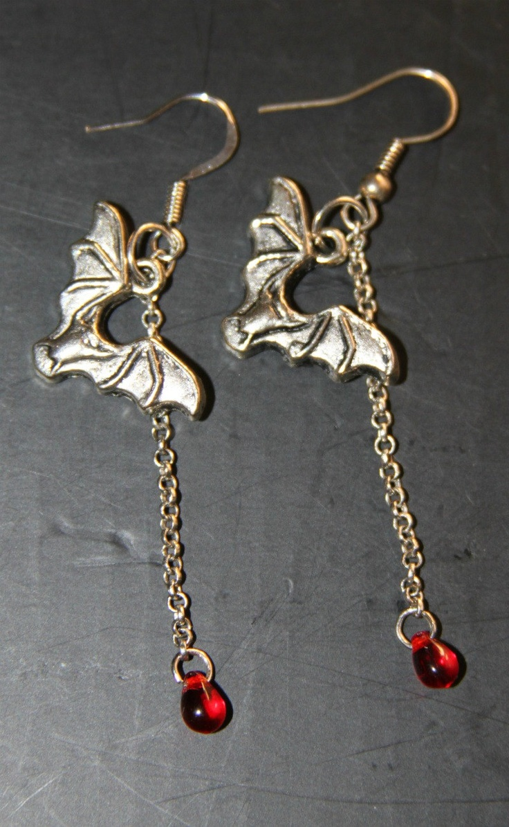 Halloween vampire bat and blood drop earrings