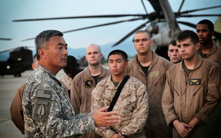 U.S. Army Brig. Gen. Michael Nagata welcomes Marines from the 15th Marine Expeditionary Unit that are replacing the U.S. Army 3rd Combat Aviation Brigade, in the delivery of humanitarian assistance and with the evacuation of flood victims as part of the flood disaster recovery effort in Pakistan, Khyber Pakhtunkhwa Province, Pakistan, Aug. 13.