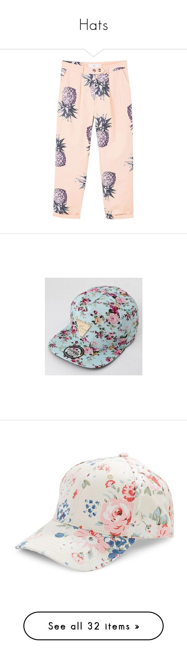 """""""Hats"""" by zrajaniemi ❤ liked on Polyvore featuring pants, bottoms, pantalones, pink pants, mango pants, cotton pants, pink trousers, mango trousers, accessories and hats"""