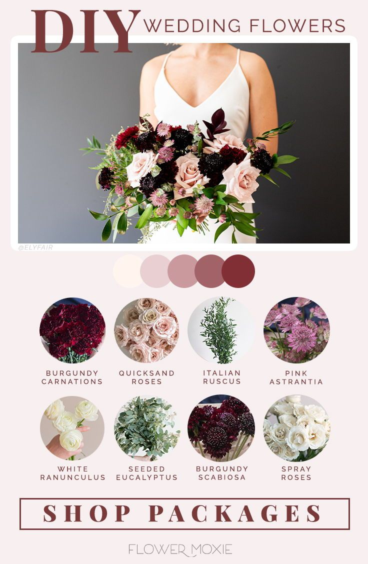 Dusty Rose And Marsala Wedding Flower Packages In 2020 Flower Packaging Marsala Wedding Flowers Wedding Flowers