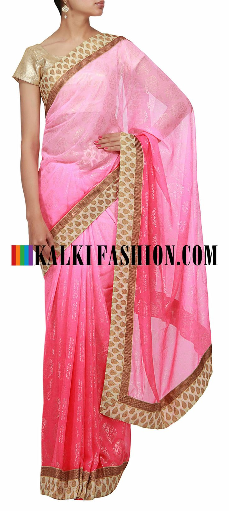 Buy Online from the link below. We ship worldwide (Free Shipping over US$100) http://www.kalkifashion.com/shaded-saree-in-pink-with-foil-print.html Shaded saree in pink with foil print