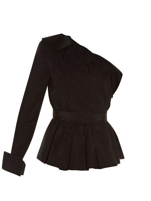 FENDI One-Shoulder Peplum Top. #fendi #cloth #top