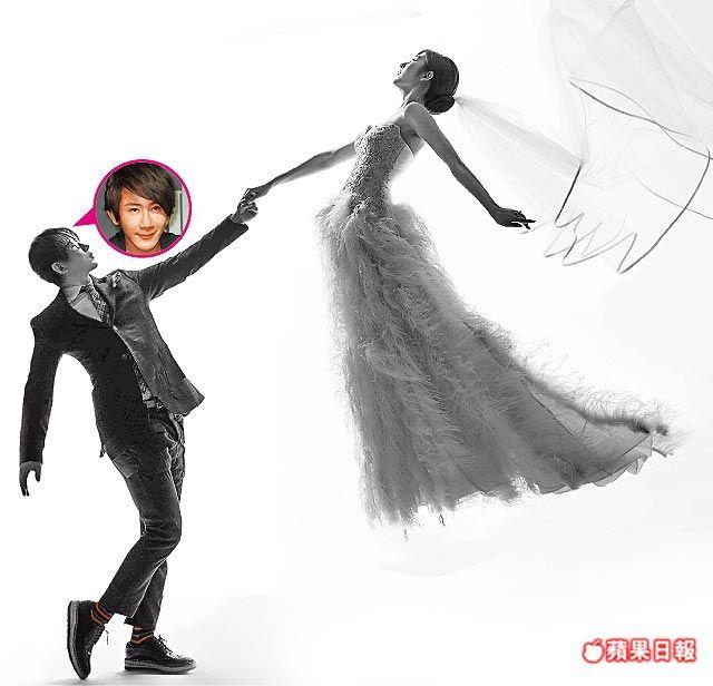 劉謙(左)跟王希怡的黑白漂浮婚紗照創意十足。