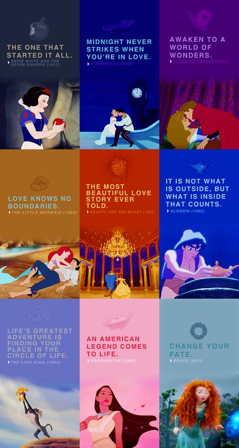 Snow White lives with 7 men, Cinderella snuck out and went to a party, Ariel changes herself to be with a guy, belle falls in love with an animal, Aladdin is a thief and so on. But I still love all of them
