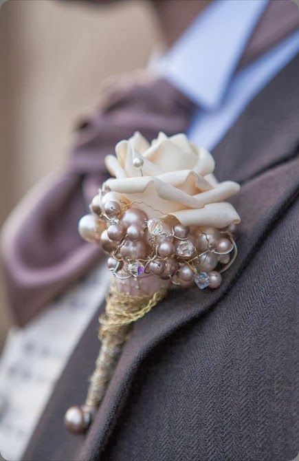 rose and dusty pink pearl boutonniere