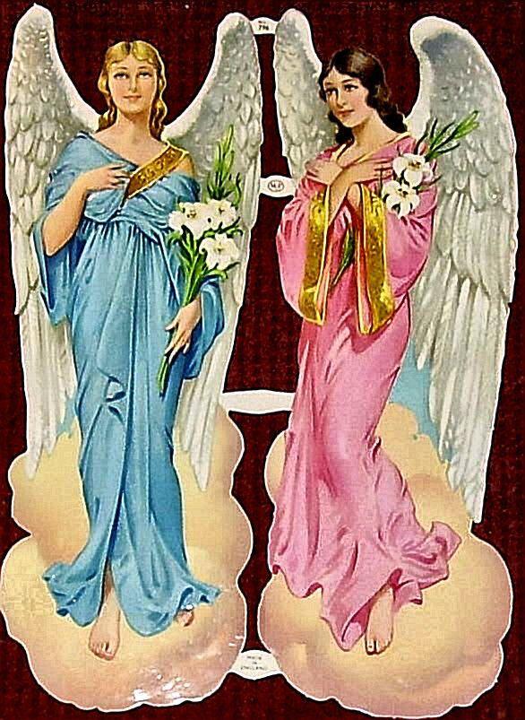 Scraps MLP 796 Angels Large Vintage Sheet Glanzbilder Die-cuts Oblaten Decoupis