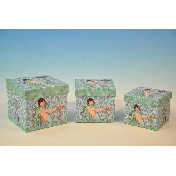 Set 3 Scatole quadrate porta oggetti verde acqua - SaraBHome