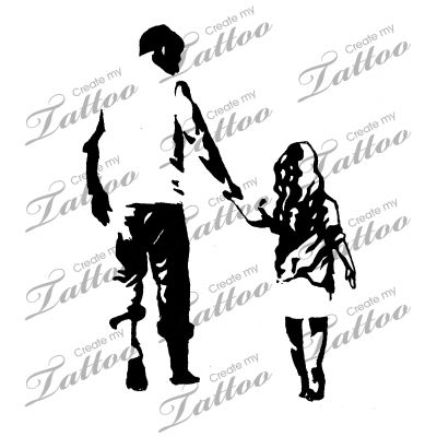 Marketplace Tattoo Father and Daughter #16345 | CreateMyTattoo.com