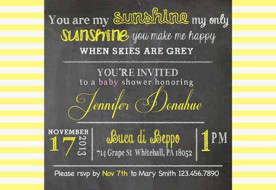 You are My Sunshine Baby Shower Invitation on Etsy, $15.00