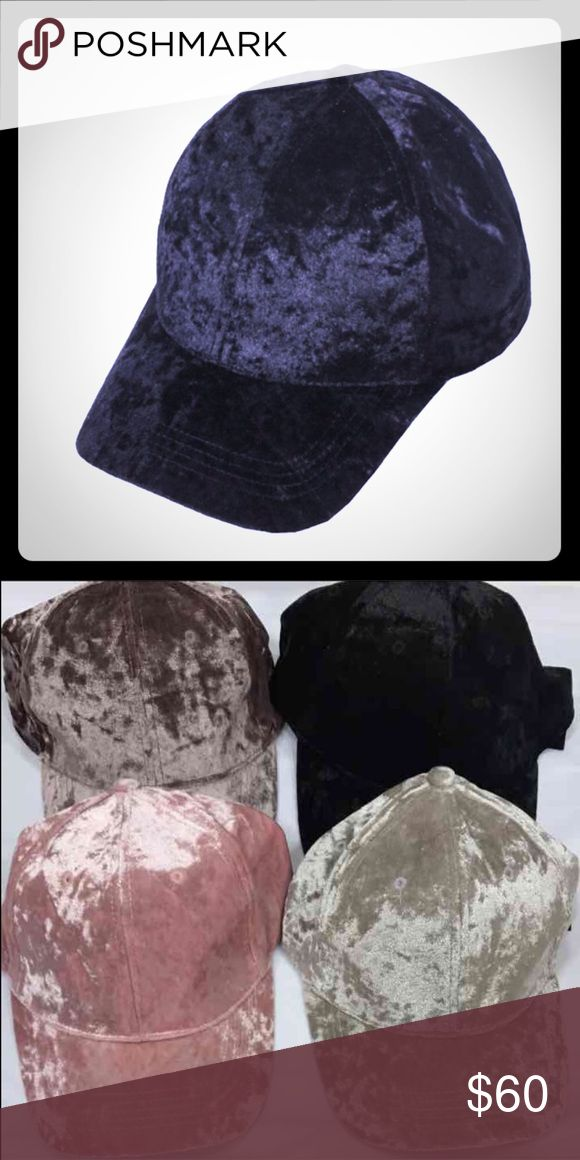 Brand New with Tag Black Velvet Hat BRAND New with tag velvet cap with velcro back adjustable closing. Super cute baseball hat. TAGGED BRAND FOR EXPOSURE ONLY!!!!!!!! Brandy Melville Accessories Hats