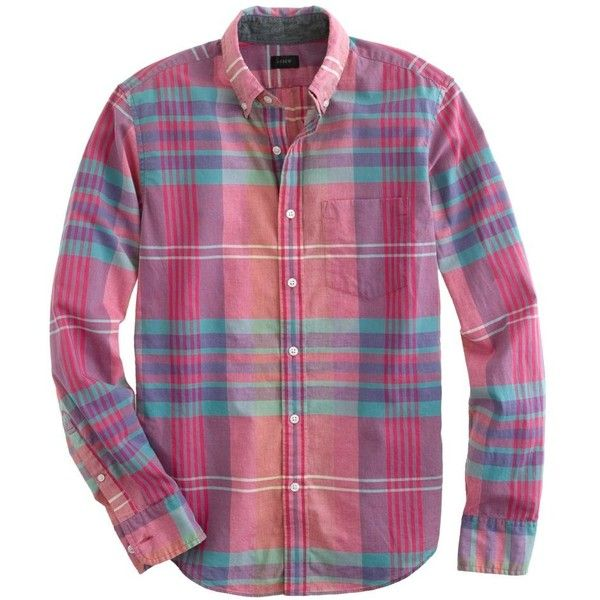 J.Crew Slim Indian cotton shirt in flash pink plaid (160 BRL) ❤ liked on Polyvore featuring tops, pattern shirt, indian print shirts, plaid shirts, indian cotton tops and summer shirts