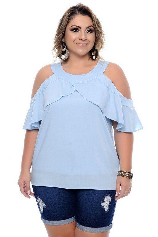 0fb437ae5a90f9 DESCRIÇÃO Blusa Plus Size Vivianne. Blusa ciganinha produzida em ...