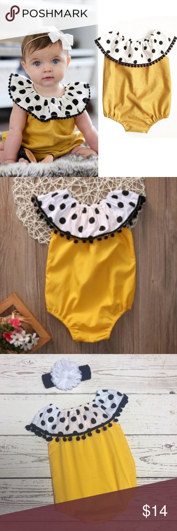 NEW Gold and Polka Dot Pom Pom Jumper Gold body with on or off the shoulder collar of white with black polka dots and pom poms.  100% Cotton  Gold color is brighter than in the first photo.  I took the last photo myself.  Price is firm #UE937446  Bodysuit, jumpsuit, onesie, sunsuit, romper, sun suit One Pieces Bodysuits