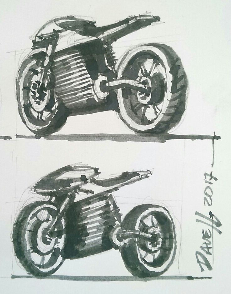 Free hand sketch. Concept motorcycle with waterbrush filled with diluted ink on paper