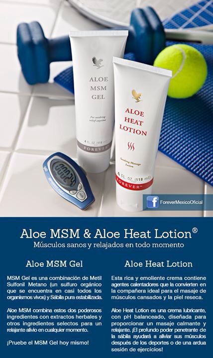 Aloe Heat Lotion y MSM Gel https://www.foreverliving.com/retail/entry/Shop.do?store=BEL&language=nl&distribID=310002029267