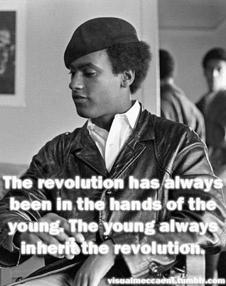 """The revolution has always been in the hands of the young. The young always inherit the revolution.""  ~ Huey P. Newton, pictured at The Black Panther Party headquarters in San Francisco.  Photo credit: Ted Streshinsky / Corbis Images"