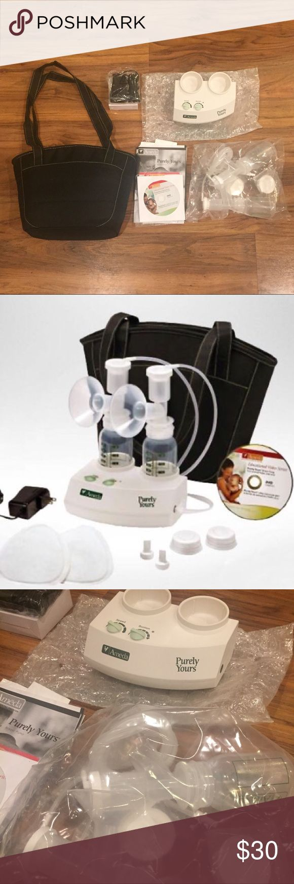 Ameda Purely Yours Breast Pump Ameda Purely Yours electric breast pump. Contents: motor unit Dual HygieniKit Milk Collection System (2) 25.0mm breast flanges  (2) diaphragms,  (2) 4 oz. bottles with universal thread, and lock-tight lids,  (2) valves,  (2) tubing,  (2) adapter cap,  (1) tubing adapter for single or dual pumping Carrying Tote AC Power Adapter Instructions, including low-literacy instructions in English and in Spanish Instructional DVD in English and Spanish Sample Pack Premium…