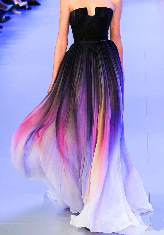 Black Colorful Bandeau Collarless Sleeveless Fashion Dacron Maxi Dress