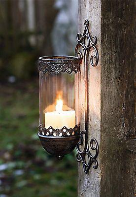 Wandleuchter Kerzenhalter Wandkerzenhalter Windlicht Metall Barock Gartendeko