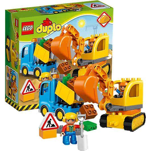 Bagger und Lastwagen(LEGO-Nr.: 10812) von LEGO DUPLO  warten bereits darauf endlich von kleinen Nachwuchsbauarbeitern entdeckt zu werden.<br /> <br />  Die leicht zu bauenden Maschinen lassen sich wunderbar über unwegsames Gelände fahren. Mit seiner großen Schaufel ist der Raupenbagger optimal, um nach allerlei tollen Dingen zu graben. <br /> <br /> Spielend lässt sich der flexible Arm zerlegen, um ihn zu verkürzen und belade dann den Kipplaster, um die Funde zu transportieren. <br /> <br…