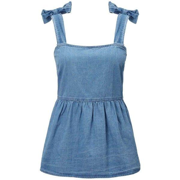 Miss Selfridge Denim Tie Shoulder Camisole Top ($55) ❤ liked on Polyvore featuring tops, denim, cami top, blue top, miss selfridge, camisole tops and tie top
