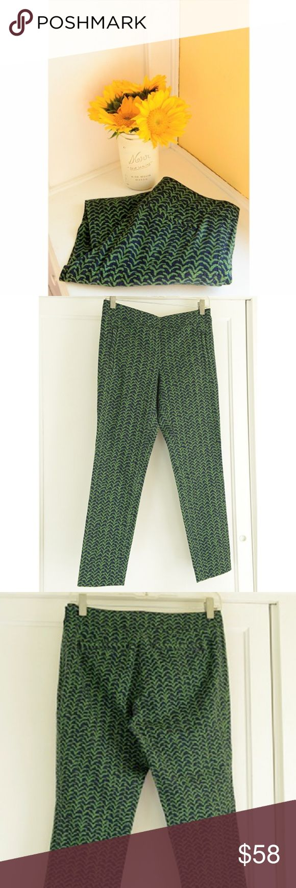 "NWOT Cartonnier Green/Navy Chevron Pants These are new, never worn Cartonnier pants in green and navy. Absolutely adorable. :) The tag is cut for final sale. Size 2. Measurements: waist: 14"", inseam: 25.75"" (cropped, but not quite capris), front rise: 9.5"", back rise: 11.5"". Enjoy! Anthropologie Pants Ankle & Cropped"