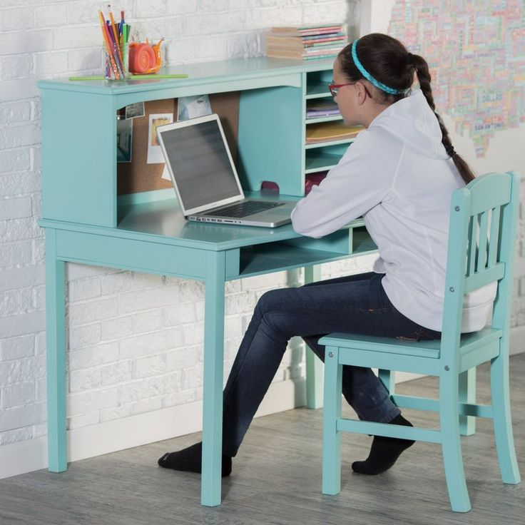 Kids Wood Study Desk Set With Hutch And Chair Storage Shelves Board Panel Teal #GCFurniture